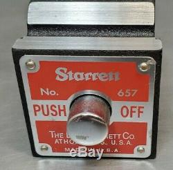 Starrett No. 657D magnetic base with No. 25-441 1 dial indicator wooden case