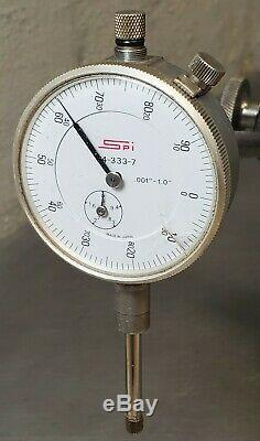 Starrett No. 657D magnetic base with a SPI 1 dial indicator