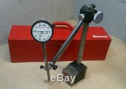Starrett No. 658 HEAVY DUTY magnetic base with No. 25-441 dial indicator 659