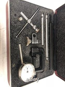 Starrett Rear Plunge Dial Indicator No. 196 With Attachments and Case