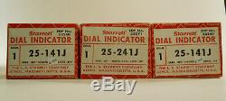 Three Starrett Dial Indicators No. 25-141J Grad. 001 Reading 0-100 Range. 250