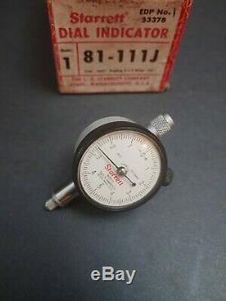 USA Made Starrett 81-111 Jewled Dial Indicator. 0001.025 Range Machinist Tool