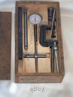 Vintage L. S. STARRETT No. 196A Dial Test Indicator Set In Wooden Case