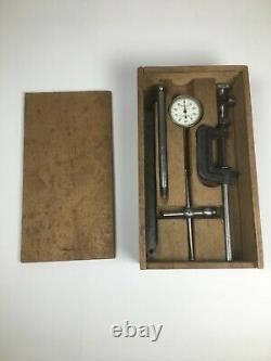 Vintage L. S. Starrett Dial Test Indicator No. 196A with wooden Case