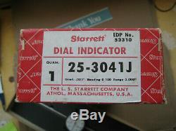 Vintage Starrett Dial Indicator model 25-3041J. 001 & 0-3 RANGE W Box