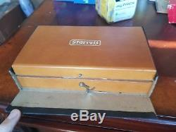 Vintage Starrett Dial Test Indicator 196A wooden box, parts still new in package